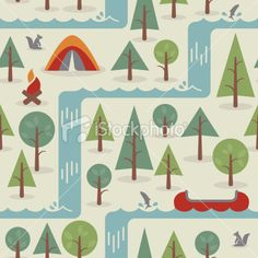 Seamless Camping Background Royalty Free Stock Vector Art Illustration