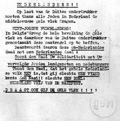 Holland ,Amsterdam, A notice showing solidarity with the Jews, 1942. The only town that did all they could to protect their Jewish populations A typewritten proclamation to the residents of Holland.
