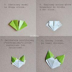 Stonogi.pl - blog sklepowy: Gałązki pełne liści - kurs krok po kroku Origami Wall Art, Diy Origami, Origami Paper, Paper Flower Tutorial, Paper Flowers Diy, Diy And Crafts, Arts And Crafts, Paper Crafts, Origami Leaves