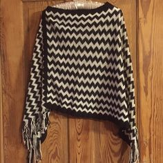 Chevron shawl Chevron shawl in black and white with fringe, one size, worn once. Smoke free home. Other