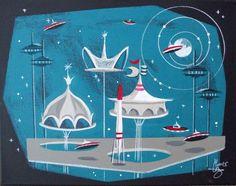 EL GATO GOMEZ PAINTING RETRO OUTER SPACE SHIP ROCKET JETSONS FUTURISTIC 1960S  #Modernism