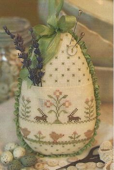 Primitive Folk Art Cross Stitch Pattern EASTER by PrimFolkArtShop