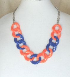 """Check out Team Colors,Adjustable 22""""Long,Statement Necklace,Chunky Royal  Blue and Orange,Light Weight Acrylic,30x32mm Links,Matching Earrings,#SN1005 on ckdesignsforyou"""