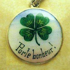 RARE Antique Art Nouveau Silver Vermeil Enamel Porte Bonheur Lucky Clover Charm