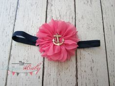 Nautical Anchor Headband - Hot Pink & Navy Blue - Newborn Infant Baby Toddler Girls Adult on Etsy, $7.95
