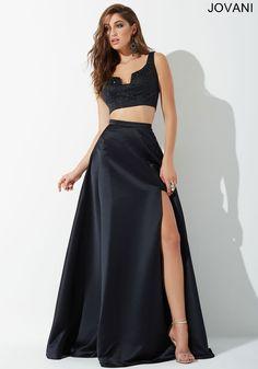 Black High Slit Two Piece Prom Dress 26331 - Prom Dresses