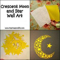 crescent moon and stars wall art ramadan crafts