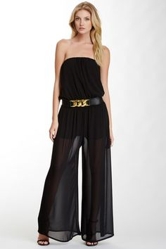 Want & Need Belted Chiffon Jumpsuit by Assorted on @HauteLook