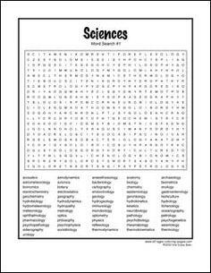 Very Hard Word Searches Printable | hard science word search-01 More