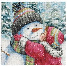 Counted Cross Stitch Kits, A Kiss For Snowman C5G1 R2H7 #ebay #Home & Garden
