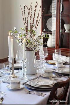 Tablescape with Pussy Willow and flower Centerpiece