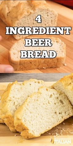 This beer bread recipe uses just four ingredients and has an incredible flavor. Make it today for a snack or as a tasty side to your meal! bread without yeast baking soda Bread Maker Recipes, Healthy Bread Recipes, Beer Recipes, Banana Bread Recipes, Baking Recipes, Snack Recipes, Breadmaker Bread Recipes, Amish Bread Recipes, Irish Recipes
