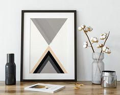 Items similar to Geometric Wall Art // Wall Art // Unframed Print // Grey, Mustard & Blue Wall Art // Geometric Print on Etsy Geometric Poster, Geometric Wall Art, Abstract Wall Art, Geometric Shapes, Wall Art Prints, Fine Art Prints, Orange Wall Art, Triangle Print, Tree Silhouette