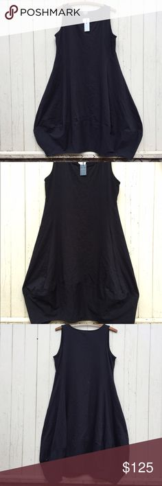"""Just Jill lagenlook black balloon dress, NWT, XL Glorious black tunic or dress, with an artsy asymmetrical balloon hem.  Composed of a comfortable, stretchy 90% cotton and 10% spandex blend.  Unlined, pullover.  Marked size XL.  NWT, by Just Jill.  Made in Indonesia.   Shoulder-12.75"""" Bust-approx. 37"""" to 47"""" flat/stretched Waist-approx. 36"""" to 46"""" at natural waist Hip-approx. 62"""" (fans out to around 70"""" at very widest point of balloon hem, and the very bottom is about 56"""") Length-approx…"""