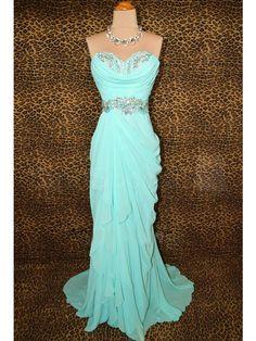 Charming Beaded Turqoise Sheath/Column Sweetheart Neckline Sweep Train Prom Dress