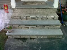 great idea to reface concrete steps, I stole this idea from Emily. Need to re-finish front steps (Entry Step Curb Appeal) Concrete Front Steps, Cement Steps, Front Porch Steps, Front Stoop, Front Stairs, Painted Concrete Steps, Repairing Concrete Steps, Concrete Refinishing, Porch Stairs