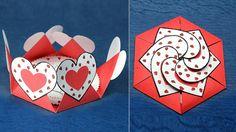 DIY Valentine Card- Hexagon Shape Heart Message Card