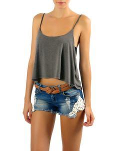 #Camiseta cropped tirantes Double Agent en gris y en rosa por 12€ en www.doubleagent.es #tshirt #trends #clothes