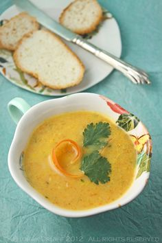 Carrot and coriander soup... my favourite British soup! I used a can of condensed milk instead of regular milk. It was amazing!