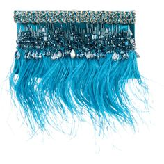 Pre-owned Valentino Feather & Gem-Embellished Satin Clutch (€415) ❤ liked on Polyvore featuring bags, handbags, clutches, blue, beaded handbag, beaded purse, man bag, preowned handbags and handbag purse