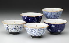 """Our fair trade ceramic blue mai rice bowl candles are beautifully hand-painted by women artisans living in rural Vietnam."""
