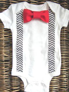 baby boy onesie, red-bow