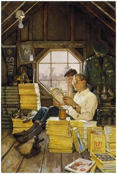 Attic Scene by James Gurney. Gurney is the artist and author best known for his illustrated book series Dinotopia. He taught himself to draw and paint realistic images by reading books about illustrators Norman Rockwell and Howard Pyle. Peintures Norman Rockwell, Norman Rockwell Art, Norman Rockwell Paintings, Photo Facebook, People Reading, Reading Art, Reading Time, Reading Books, Caricatures