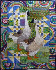 """Goose in the Pond, 34 x 27"""", by Ruth B. McDowell. ©2015. Machine Pieced, Machine Quilted, Cotton Fabrics."""