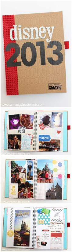 Walt Disney World Smash Book www.amygigglesdesigns.com This scrapbook is so easy to make and keep all of your Disney memories in one place!