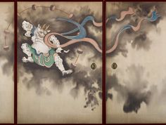 Detail (Thunder God or Raijin ). Left side. Door (fusuma) with Design of Wind God and Thunder God. Late Edo Period Color on silk, eight sliding doors. Suzuki Kiitsu (1796-1858). TOKYO FUJI ART MUSEUM