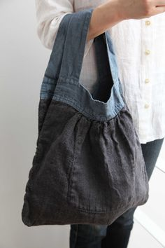 I like the denim handles with black linen :: Lino e Lina オンラインストア