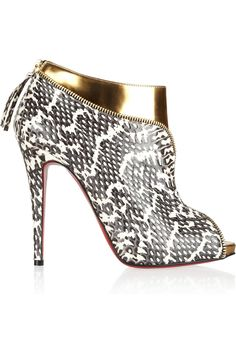 Christian Louboutin|Col Zippe 120 leather and water snake ankle boots|NET-A-PORTER.COM