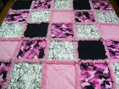 Pink Camo sketch Rag Quilt blanket girl baby/toddler blanket DISCOUNTED #Handmade