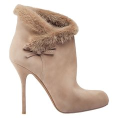Gojee - Suede and Mink  Ankle Boot in Taupe by Dior