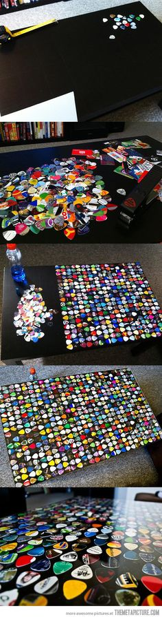 Awesome guitar pick table. Could do this like pop art and fill up a A1 sheet  Like bottle tops and cover a book