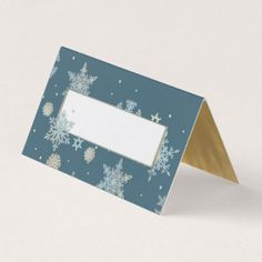 #glitter - #Blue and Gold Snowflakes Wedding Folded Place Card