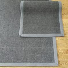 For Mud room.  Ideally, 3 (max) X 8 (max), Gray Sisal with Gray Border Rug | Ballard Designs, $100