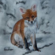 All The Snow Lay Round About - red fox cub painting, painting by artist Anne Zoutsos