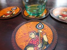 Pattachitra Coasters, Turmeric Hands