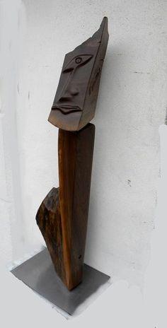 walnut sculpture deco man by Garry Zayon www.zayonfurniture.com