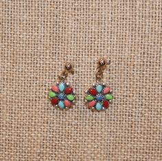Vintage Native American Multi Gemstone Flower Post Earrings plus Free USA Shipping! by Route66Diner on Etsy