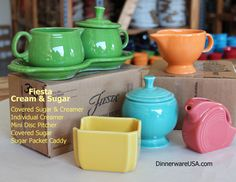 Fiesta Sugar and Creamer your way. Perfect for morning coffee or a relaxing cup of tea. http://www.dinnerwareusa.com/shop/catalog/handler~event~browse~cat_id~124.htm