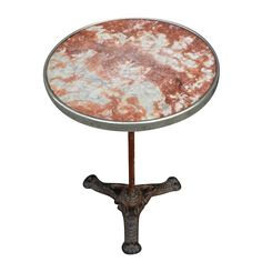 A very beautiful French Café Table with original marble top , polished nickel-silver surround and cast iron single-stem base.  Nowadays French café