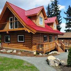 Square Timber Log Home But With No Red Roof