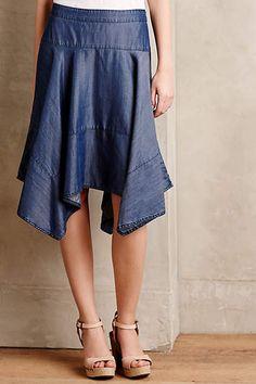Chambray Hanky Hem Skirt - anthropologie.com