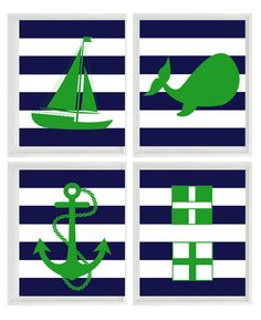 Nautical Nursery Art Print Set - Green Navy Blue Stripes Decor - Whale Anchor Sailboat Flags - Wall Art Home Decor Set 4 8x10. $50.00, via Etsy.