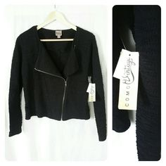 Como Vintage textured moto jacket NWT Black, textured cotton motor jacket made by Como Vintage. NWT. Labeled as medium, semi cropped. This jacket is very comfy and adds a great edgy look to a cocktail dress. Or pairs great with anything as a spring/fall jacket. Original price 49.99 Como vintage Jackets & Coats