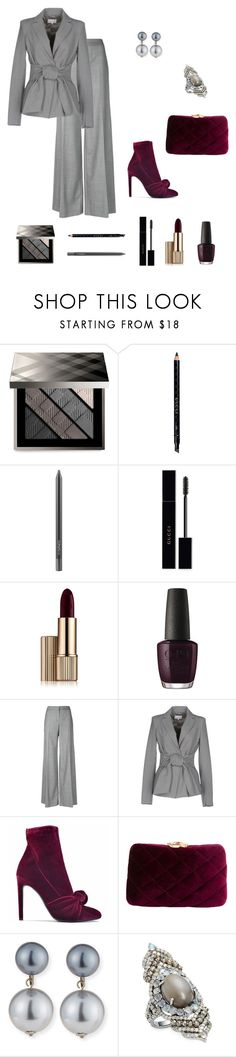 """Untitled #731"" by ladyasdis ❤ liked on Polyvore featuring Burberry, Gucci, MAC Cosmetics, Estée Lauder, OPI, Alexander McQueen, Patrizia Pepe, Giuseppe Zanotti, Serpui and Kenneth Jay Lane"