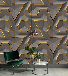 Gray Panel Gold Decor Geometric Background Wallpaper Restaurant Living Room Cafe Office Bedroom Mural Home Wall Art by wallpaew on Etsy Home Room Design, Home Interior Design, Living Room Wall Wallpaper, 3d Wallpaper For Walls, Amazing Wallpaper, Wall Panel Design, Pvc Wall Panels Designs, House Wall Design, Wooden Wall Design