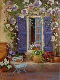Flowers Greeting Card featuring the painting Have A Seat by Laura Lee Zanghetti Laura Lee, Dorm Art, Window Box Flowers, Purple Door, Stone Houses, Art Store, Decoration, Flower Art, Landscape Paintings